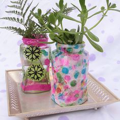 Print your own tissue paper and use that to make some fun decoupaged jars to hold summer flowers or even …