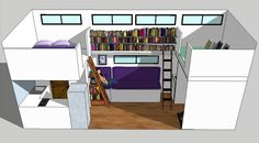 """tinyhousedarling: """"  Source  A partial SketchUp model I'm working on for my home design, showing 1 wall of the Great Room. I've always dreamt of having a grand library someday, and this is my Tiny House version of it. The ladder on the left leads to..."""