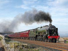 Net Photo: 46115 British Railways Ex-LMS Royal Scot class at Wharton, Cumbria, United Kingdom by Steve Armitage Train Drawing, National Rail, Steam Railway, Train Art, British Rail, Old Trains, Train Engines, Steam Engine, Steam Locomotive