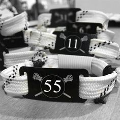 A great team gift idea! Lace bracelets with your team's name or number! Great as an end-of-season treat!