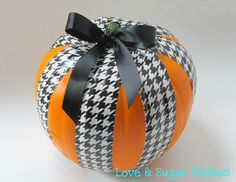Duct tape and ribbon ... Simple pumpkin idea!
