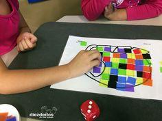 Cuatro actividades matemáticas sobre Elmer, el bromista elefantito de colores. Rellenar una forma. IMPRIMIBLE GRATIS