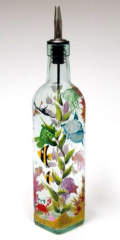 Custom Order Hand Painted Glass Bottle Olive Oil Dispenser Marine Scene Cartoon Hand Painted Glassware Hand Painted Olive Oil Bottles (painted by Helen krupenina) Tape Painting, Bottle Painting, Bottle Art, Painted Glass Bottles, Bottles And Jars, Recycled Wine Bottles, Wine Bottle Crafts, Olive Oil Dispenser, Soap Dispenser