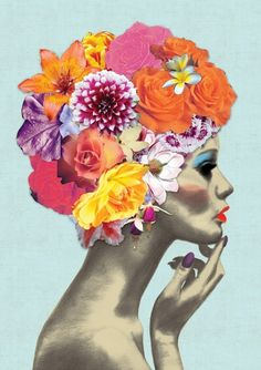 Flower Girl by Ellie Vandoorne. Colourful print available for sale, £220. Illustrative art. A statement piece for the bedroom.
