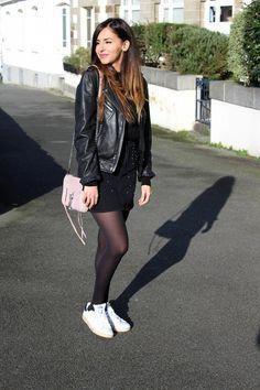 black biker jacket, denim skirt, tights, sneakers Source by janetteitaas Pantyhose Outfits, Black Pantyhose, Nylons, Denim Overalls, Denim Outfit, Black Tights Outfit, Denim Noir, Black Denim Skirt, Denim Skirt Tights