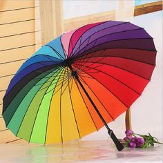 Oversized double 24K Metal Skeletons Rainbow umbrella Parasol Guarda Chuva Parapluie Paraguas Sombrillas Sombrilla Playa Rain #Affiliate