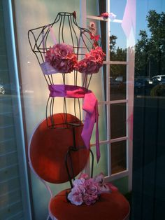 breast cancer awareness store display | Display for breast cancer awareness by Julie Gejeian. Love the rose ...