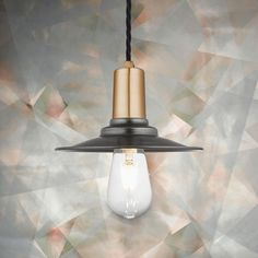 Our Flat Pendant Light used with the beautiful wallpaper from 17 Patterns Loft Conversion Flat, Wall Lights, Ceiling Lights, Wall Mounted Light, Modern Loft, Beautiful Wallpaper, Ceiling Rose, Copper And Brass, Brass Material