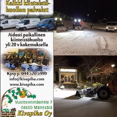 Kiinteistöhuoltoa Mäntsälässä Snow, Outdoor, Outdoors, Outdoor Games, The Great Outdoors, Eyes, Let It Snow