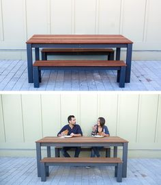 This modern outdoor dining table will make a great addition to your patio/deck and provide a bit of ease for your next barbeque! Check out the website for the full material list + instructions: http://www.homemade-modern.com/ep101-diy-outdoor-dining-table/