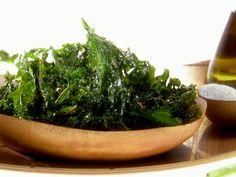 Crispy Kale Chips from FoodNetwork.com (sprinkle with white vinegar before baking for Salt & Vinegar Kale Chips)
