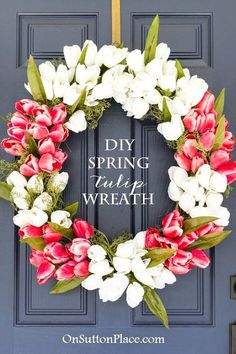 Make this easy, DIY Spring Tulip Wreath for your front door. Tulips can be found at any craft store in a wide selection of colors to match your own decor.