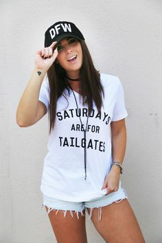White V-Neck top with black graphic writing that reads, 'Saturdays Are… Sport Fashion, Fashion Outfits, Tailgate Outfit, Game Day Shirts, Football Fashion, White V Necks, Comfy Casual, College Outfits, Cute Shirts