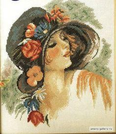 0 point de croix fille romantique chapeau et fleurs - cross stitch romantic girl , hat with flowers