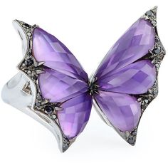 Stephen Webster Fly By Night Amethyst Bat-Moth Ring ($4,500) ❤ liked on Polyvore featuring jewelry, rings, stephen webster rings, pave jewelry, amethyst ring, bat jewelry and 18k ring