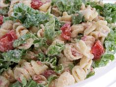 BLT Pasta Salad from Food.com:   OMG AWESOME AND SIMPLE!!!!!!