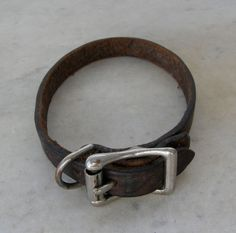 """LEATHER DOG COLLAR Dark Brown Good Quality Vintage Leather Metal Buckle & Leash Loop Animal Collar Adjustable 5 Holes 15"""" Long Approx. 1900s by OnceUpnTym on Etsy"""