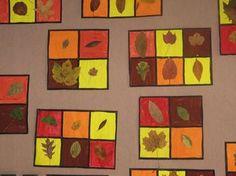 JPEG - 42.6 kb carrés peints aux couleurs de l'automne avec collage d'une vraie feuille