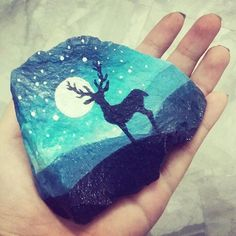 stone art | silhouette rock painting | painted rocks