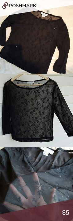 Three quarter length black sheer shirt For sale is a sheer black shirt. It has three-quarter length sleeves it features an almost boat neck like opening. There is a random floral pattern that runs through the shirt and has a little bit of Sparkle to it.  This shirt has a stretch to it  and is a size medium which seems to run true to size. Younique Clothing Tops