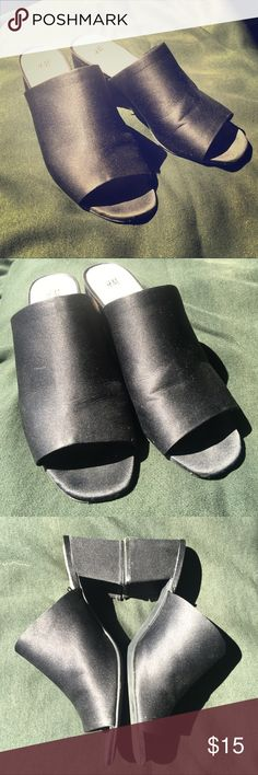 "Black H&M Heeled Mules Black sandal heels. Heels are 3"". Worn twice and do have some wear as shown. I am a 9 or 9.5 in shoes and these were on the big side for me but did fit. A 9.5 or a 10 could wear them. No holds or trades. Reasonable offers accepted through offer feature-offers greater than 35% off will be countered or declined. H&M Shoes"