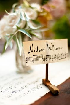 Names and seating for a musical wedding