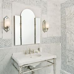 Greek Key Tiles - Contemporary - bathroom - Style at Home Cute Home Decor, Home Decor Kitchen, Cheap Home Decor, Kitchen And Bath, Kitchen Sinks, Granite, Console Sink, Console Table, Bathroom Inspiration