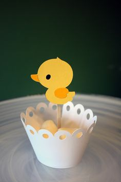 Rubber Ducky Cupcake Toppers / Cake Toppers / Mini Cupcake Toppers / Centerpieces. $7.00, via Etsy.