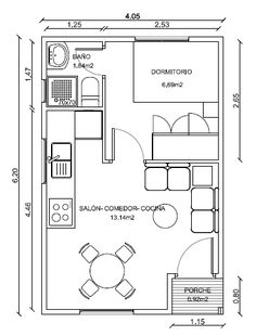 Simpático modelo de casa de madera de 25 el cual cuenta con un dormitorio Small Apartment Layout, Studio Apartment Floor Plans, Studio Apartment Layout, Bedroom Floor Plans, Apartment Plans, Apartment Design, Small Apartments, Plan Chalet, Small House Floor Plans