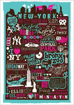 New York Poster - Love the design of this but slightly confused by the reference to Dunkin Donuts. That's a New England company!