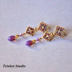 Earth Batik Set, #Earrings, #necklace, #TrinketStudio, #Beading, #Swarovski…
