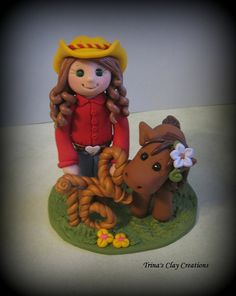 Polymer Clay Cowgirl and Pony Birthday Cake topper by Trina's Clay Creations