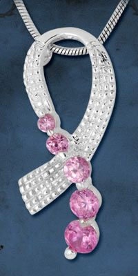 Pink Ribbon Sterling & Crystal Necklace at The Breast Cancer Site