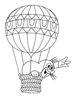 Omalovánky Krteček letí v balónu k vytisknutí zdarma