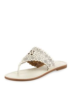 Tory Burch Roselle Laser-Cut Thong Sandal, Ivory, Women's, Size: 6B/36Bb