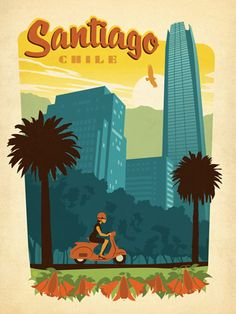 Fab vintage-style posters: Santiago, Chile