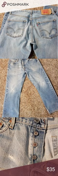 314b50bdf403 Levi 501s Size 35 33 These are classic 501s in great distressed condition.  Measurements