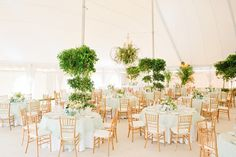 Tented Wedding Reception with Greenery