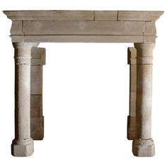 French Louis the 13th period limestone fireplace - 17th Century