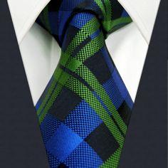 U19 Mens Ties Navy Green Checked Silk Handmade Wedding Fashion Classic Brand New Dress Men's Accessories Necktie