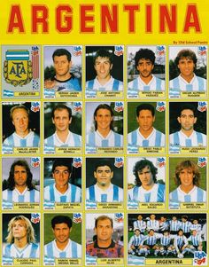Argentina team stickers for the 1994 World Cup Finals.