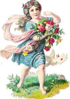 Oblaten Glanzbild scrap die cut  chromo  Blumen Kind  Elfe Taube dove elf   at.picclick.com