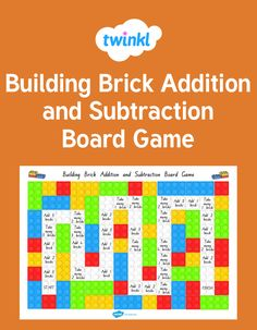 Children love building bricks so what a perfect way to reinforce addition and subtraction. Classroom Displays, Year 2, Numeracy, Addition And Subtraction, Child Love, Hands On Activities, Bricks, Maths, Board Games