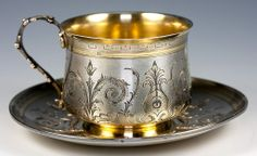 French 1st standard (.950 fine) parcel-gilt silver large chocolate cup and saucer, with guilloché (engine-turned) background, and bright-cut engraving - c1885 (antiquesuncommontreasure)