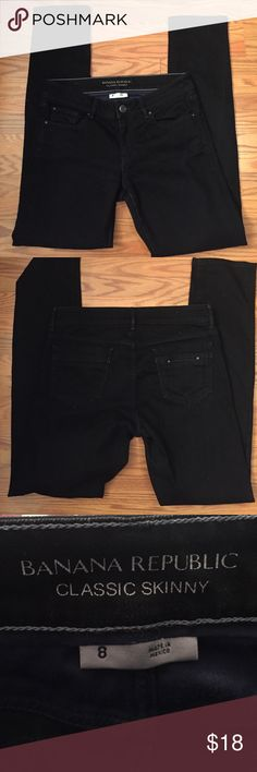 "Banana republic jeans Banana republic classic skinny black jeans, inseam 32"" like new condition 98% cotton 2% spandex Banana Republic Jeans Skinny"
