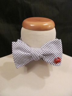 Navy Seersucker Bow Tie with Red Crab Nautical Beach Wedding Bowtie 4th of July Fourth of July Red White Blue Coastal by savannahjacks, $40.00
