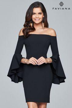 Faviana - Off Shoulder Short Crepe Cocktail Dress in Black (bell sleeves, back zipper closure, natural waist, sheath silhouette) Next Dresses, Different Dresses, Dresses For Work, Formal Dresses, Summer Dresses, Luxury Dress, Black Cocktail Dress, Cocktail Dresses, Crepe Dress