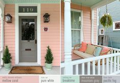 Our Beach House | Young House Love Sherwin Williams Mellow Coral Paint SW Pure White paint on trim White Exterior Houses, Cottage Exterior, House Paint Exterior, Exterior House Colors, Tan House, House Trim, House Siding, Beach House Colors, House Front Porch