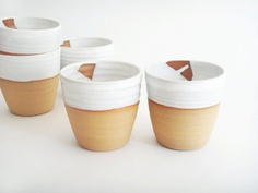 Handmade white pottery cups two minimal by juliapaulpottery, $40.00