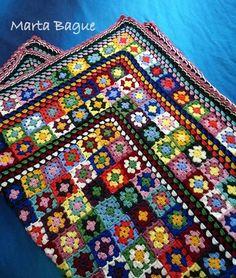 Manta Antariana VII y última. Granny Square Crochet Pattern, Crochet Flower Patterns, Crochet Squares, Crochet Blanket Patterns, Crochet Designs, Crochet Stitches, Crochet Granny, Granny Squares, Scrap Yarn Crochet
